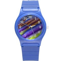 Fractal Color Stripes Round Plastic Sport Watch (s) by Simbadda