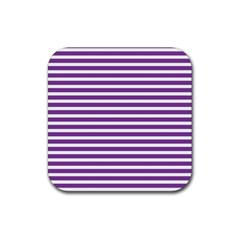 Horizontal Stripes Purple Rubber Square Coaster (4 Pack)  by Mariart