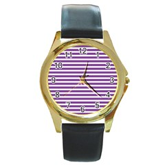 Horizontal Stripes Purple Round Gold Metal Watch by Mariart