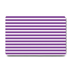 Horizontal Stripes Purple Small Doormat  by Mariart