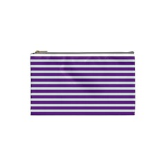 Horizontal Stripes Purple Cosmetic Bag (small)  by Mariart