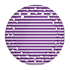 Horizontal Stripes Purple Ornament (round Filigree) by Mariart