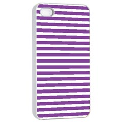 Horizontal Stripes Purple Apple Iphone 4/4s Seamless Case (white) by Mariart