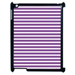 Horizontal Stripes Purple Apple Ipad 2 Case (black) by Mariart