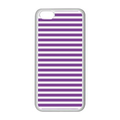 Horizontal Stripes Purple Apple Iphone 5c Seamless Case (white) by Mariart