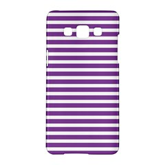 Horizontal Stripes Purple Samsung Galaxy A5 Hardshell Case  by Mariart
