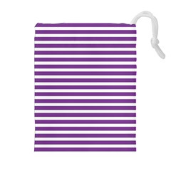 Horizontal Stripes Purple Drawstring Pouches (extra Large) by Mariart