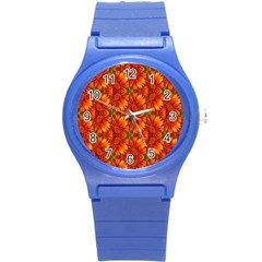 Background Flower Fractal Round Plastic Sport Watch (s) by Simbadda