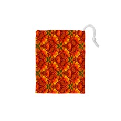 Background Flower Fractal Drawstring Pouches (xs)  by Simbadda