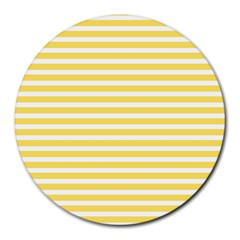 Horizontal Stripes Yellow Round Mousepads by Mariart