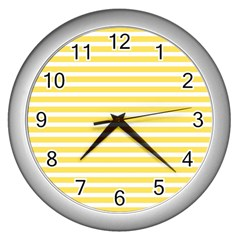 Horizontal Stripes Yellow Wall Clocks (silver)  by Mariart
