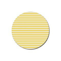 Horizontal Stripes Yellow Rubber Round Coaster (4 Pack)  by Mariart