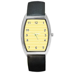 Horizontal Stripes Yellow Barrel Style Metal Watch by Mariart
