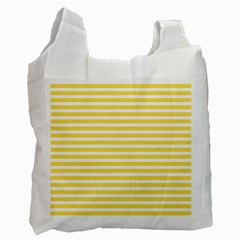 Horizontal Stripes Yellow Recycle Bag (one Side) by Mariart