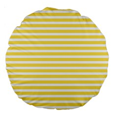 Horizontal Stripes Yellow Large 18  Premium Round Cushions by Mariart