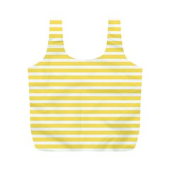 Horizontal Stripes Yellow Full Print Recycle Bags (m)  by Mariart