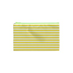 Horizontal Stripes Yellow Cosmetic Bag (xs) by Mariart
