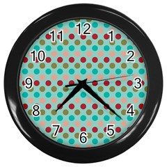 Large Colored Polka Dots Line Circle Wall Clocks (black) by Mariart