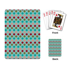 Large Colored Polka Dots Line Circle Playing Card by Mariart