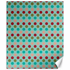 Large Colored Polka Dots Line Circle Canvas 8  X 10  by Mariart