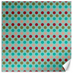 Large Colored Polka Dots Line Circle Canvas 12  X 12   by Mariart
