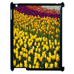 Colorful Tulips In Keukenhof Gardens Wallpaper Apple Ipad 2 Case (black) by Simbadda