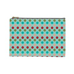 Large Colored Polka Dots Line Circle Cosmetic Bag (large)  by Mariart