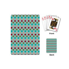 Large Colored Polka Dots Line Circle Playing Cards (mini)  by Mariart