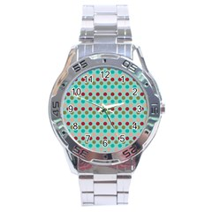 Large Colored Polka Dots Line Circle Stainless Steel Analogue Watch by Mariart