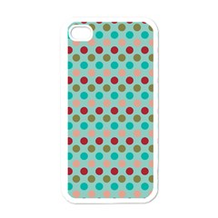 Large Colored Polka Dots Line Circle Apple Iphone 4 Case (white) by Mariart