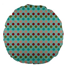 Large Colored Polka Dots Line Circle Large 18  Premium Flano Round Cushions by Mariart