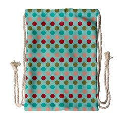Large Colored Polka Dots Line Circle Drawstring Bag (large) by Mariart