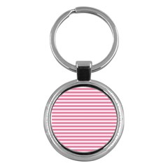 Horizontal Stripes Light Pink Key Chains (round)  by Mariart