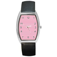Horizontal Stripes Light Pink Barrel Style Metal Watch by Mariart