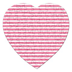 Horizontal Stripes Light Pink Jigsaw Puzzle (heart) by Mariart