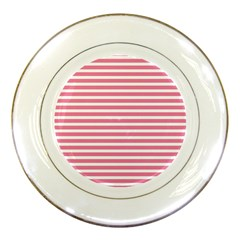 Horizontal Stripes Light Pink Porcelain Plates by Mariart