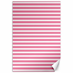 Horizontal Stripes Light Pink Canvas 12  X 18
