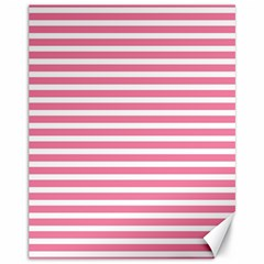 Horizontal Stripes Light Pink Canvas 11  X 14   by Mariart