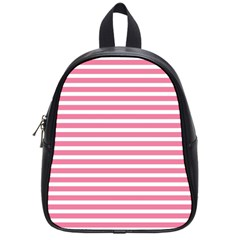 Horizontal Stripes Light Pink School Bags (small)  by Mariart