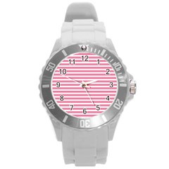 Horizontal Stripes Light Pink Round Plastic Sport Watch (l) by Mariart