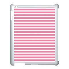 Horizontal Stripes Light Pink Apple Ipad 3/4 Case (white) by Mariart
