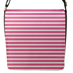 Horizontal Stripes Light Pink Flap Messenger Bag (s) by Mariart