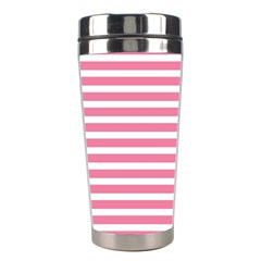 Horizontal Stripes Light Pink Stainless Steel Travel Tumblers by Mariart