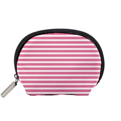 Horizontal Stripes Light Pink Accessory Pouches (small)  by Mariart