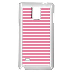 Horizontal Stripes Light Pink Samsung Galaxy Note 4 Case (white) by Mariart