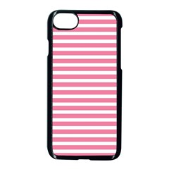 Horizontal Stripes Light Pink Apple Iphone 7 Seamless Case (black) by Mariart