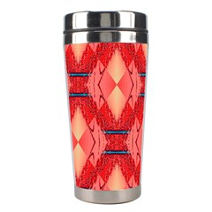 Orange Fractal Background Stainless Steel Travel Tumblers by Simbadda