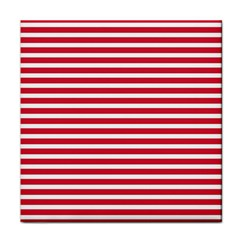 Horizontal Stripes Red Tile Coasters by Mariart