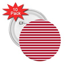 Horizontal Stripes Red 2 25  Buttons (10 Pack)