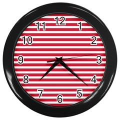 Horizontal Stripes Red Wall Clocks (black) by Mariart